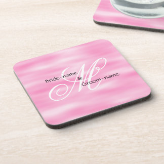 Pink Custom Wedding Monogram Beverage Coaster