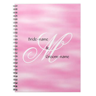 Pink Custom Wedding Monogram Spiral Note Book