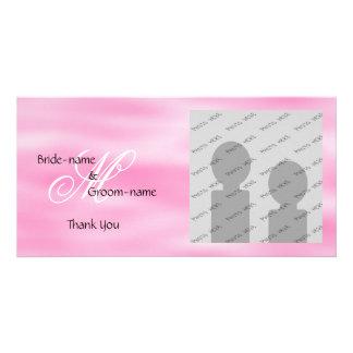 Pink Custom Wedding Monogram Photo Cards