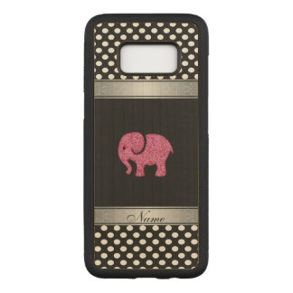 Pink cute adorble elephant polka dots personalized carved samsung galaxy s8 case