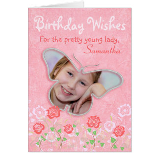 Pink cute butterfly photo frame gifts for girls greeting card