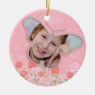 Pink cute butterfly photo frame gifts for girls round ceramic decoration