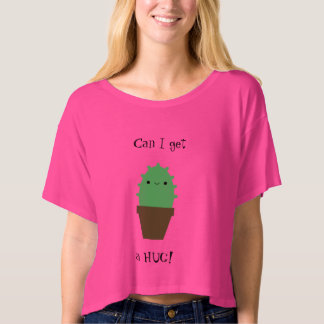 Pink cute cactus funny box crop t-shirt