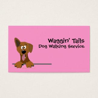 Pink Cute Cartoon Mutt Dog Business Card Template