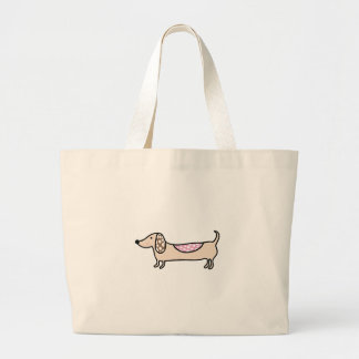 Pink cute dachshunds large tote bag