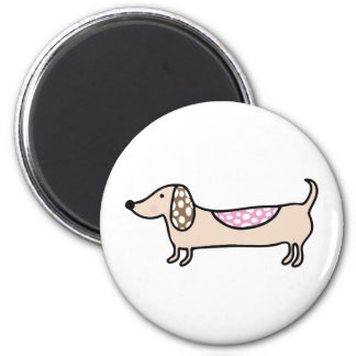 Pink cute dachshunds magnet