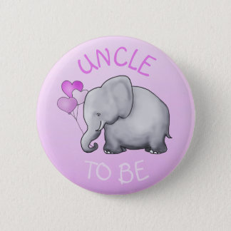 Pink Cute Elephant Baby Shower Uncle-to-Be 6 Cm Round Badge