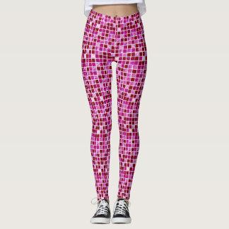 Pink Cute geometric tile pattern leggings