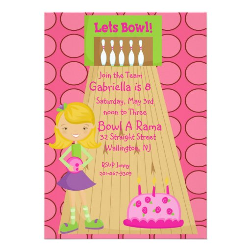Pink, Cute, Girl Bowling Party Invitation