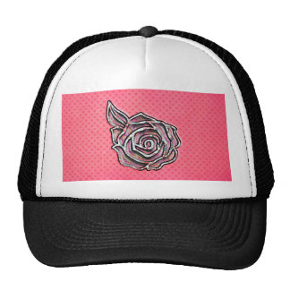 Pink cute girly floral polka dot pattern cap