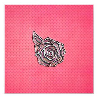 Pink cute girly floral polka dot pattern photo print