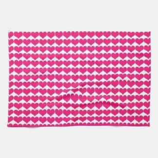 Pink Cute Hearts Pattern Kitchen Towel