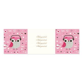 Pink,cute,owl,funny,girly,pattern,trendy,template, Pack Of Skinny Business Cards