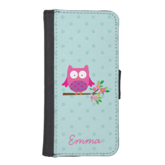 Pink Cute Owl Personalized iPhone 5/5s Wallet Case