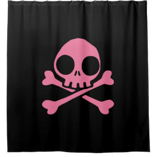 Pink Cute Skull And Crossbones Shower Curtain