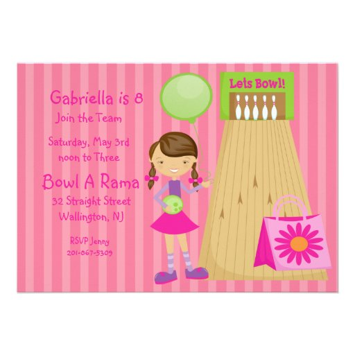 Pink, Cute,Striped Girl Bowling Party Invitation