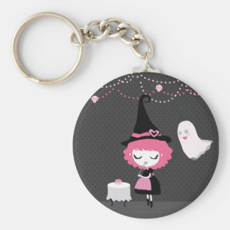 Pink Cute Witch Keychan Basic Round Button Key Ring