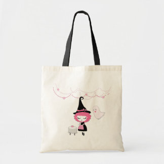 Pink Cutie Witch and Ghost Tote Bag