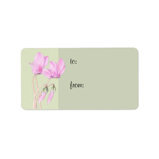 Pink Cyclamens green Gift Tag Address Label