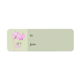 Pink Cyclamens green small Gift Tag Return Address Label