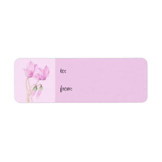 Pink Cyclamens pink small Gift Tag Return Address Label