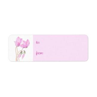 Pink Cyclamens small Gift Tag Return Address Label
