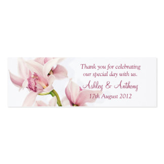 Pink Cymbidium Orchid Floral Wedding Favor Tags Business Card