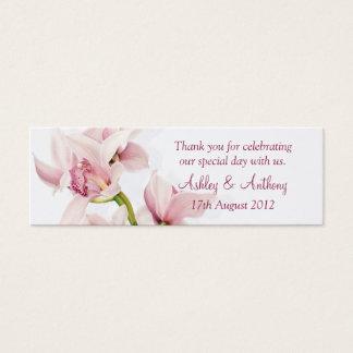 Pink Cymbidium Orchid Floral Wedding Favor Tags Mini Business Card