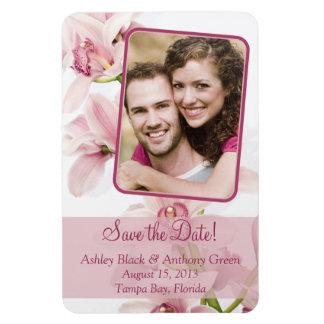 Pink Cymbidium Orchid Floral Wedding Photo Magnet