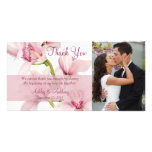 Pink Cymbidium Orchid Wedding Thank You Photocard Photo Greeting Card