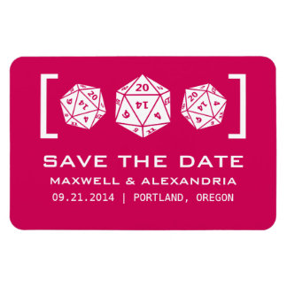 Pink D20 Dice Gamer Save the Date Magnet