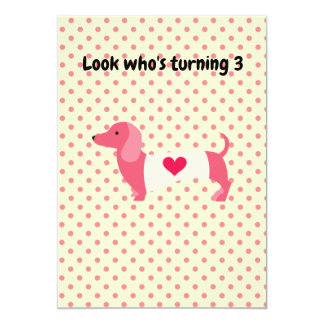 Pink Dachshund Birthday Party Invitation