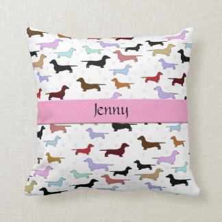 Pink Dachshund Dog Pillow Throw Cushions