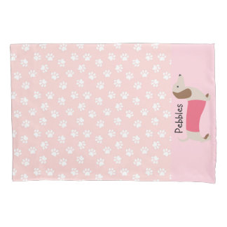 Pink Dachshund Pillow Case Custom Name