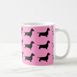 Pink Dachshund Silhouette on Mug