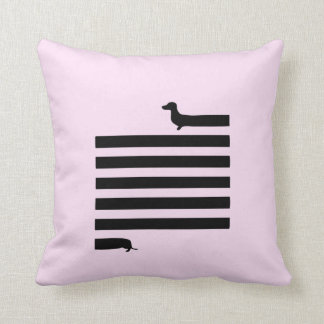 Pink dachshund silhouette square pillow