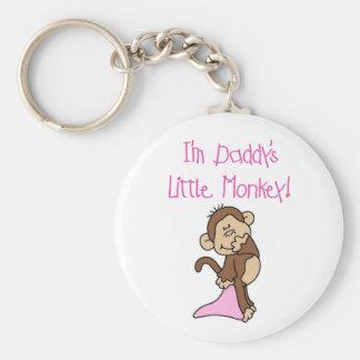 Pink Daddy's Little Monkey Basic Round Button Key Ring