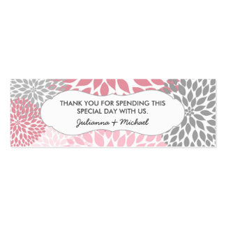 Pink Dahlia Favor Tag / baby shower / wedding Pack Of Skinny Business Cards