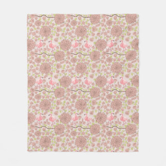 Pink dahlia, flamingo pattern Fleece blanket