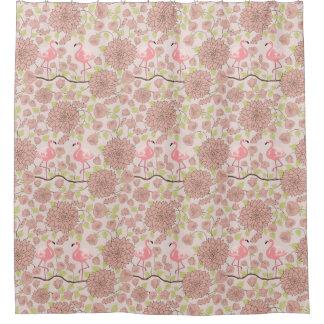 Pink dahlia, flamingo pattern Shower curtain