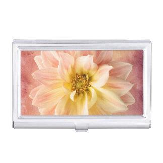 Pink Dahlia Flower Blossom Floral Business Card Holder