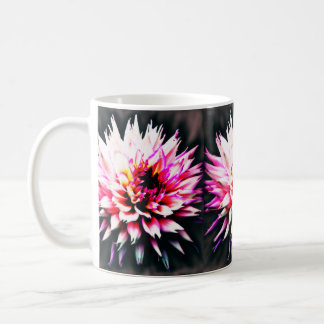 Pink dahlia flower on black background cup