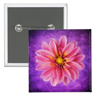 Pink Dahlia Flower on Purple Watercolor Background Pins