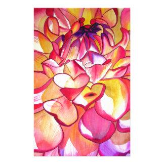 Pink Dahlia flower watercolour fine art Stationery
