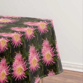 Pink dahlia, pretty tablecloth