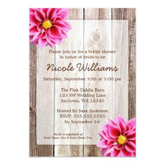 Pink Dahlia Rustic Barn Wood Bridal Shower Card