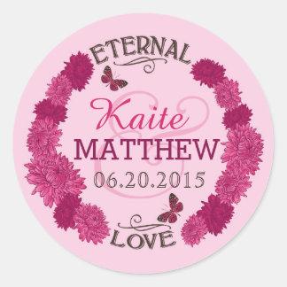 Pink Dahlia Wreath Wedding Label Round Stickers