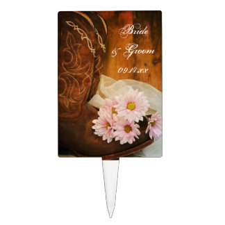 Pink Daisies and Boots Country Wedding Cake Topper