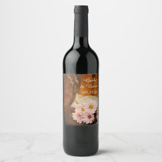 Pink Daisies and Cowboy Boots Western Wedding Wine Label