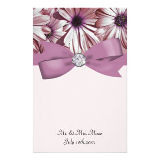 Pink Daisies Bow & Ribbon Wedding Personalized Stationery